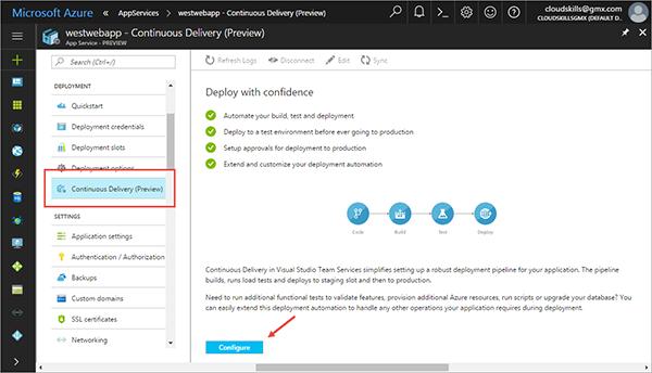 使用Azure应用服务开发持续交付的管道